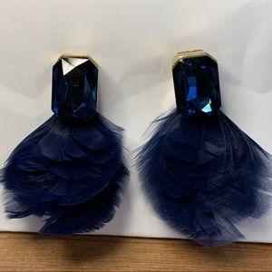 Kate Spade Blue Gem/Feather Earrings